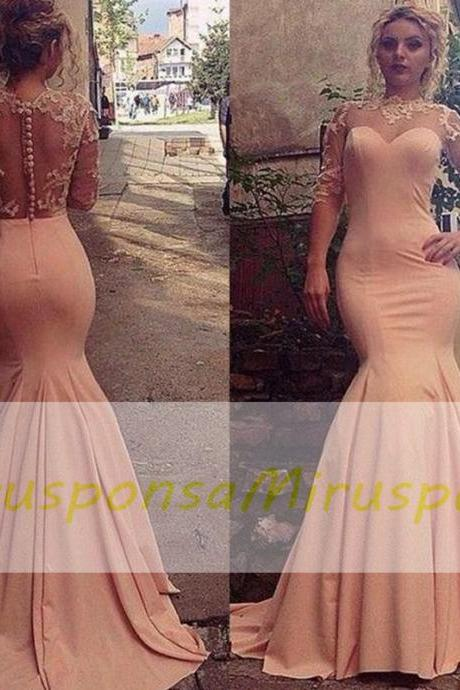 Mirusponsa Peach Pink Mermaid Evening Dresses 2017 Lace Sheer Neck Illusion Long Sleeves Prom Dresses Back Covered Buttons Sweep Train